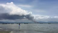 Smoke is observed on the Myanmar side of the border from Shahpirer dip Bangladesh Deptember 14 2017 Aung San Suu Kyi said September 19 she does not...