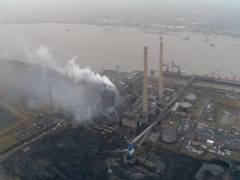 Smoke rises from the fire at Tilbury Power Station