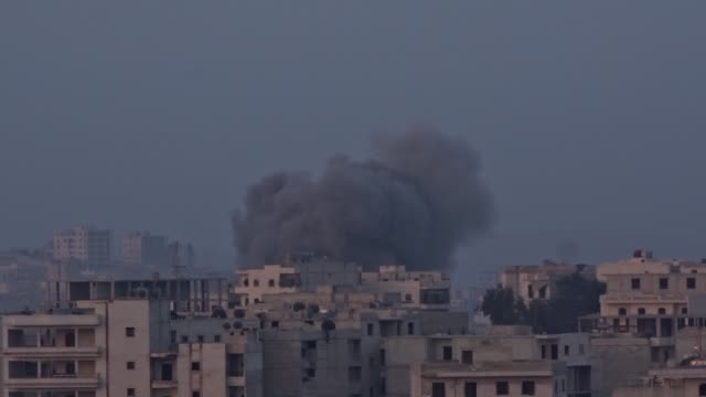 Smoke rises from the Syrian moderate oppositionheld village of Kafr Hamrah following the Russian air attacks on the secon day of the cessation of...