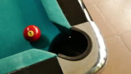 snooker player shoot ball no 7 into hole