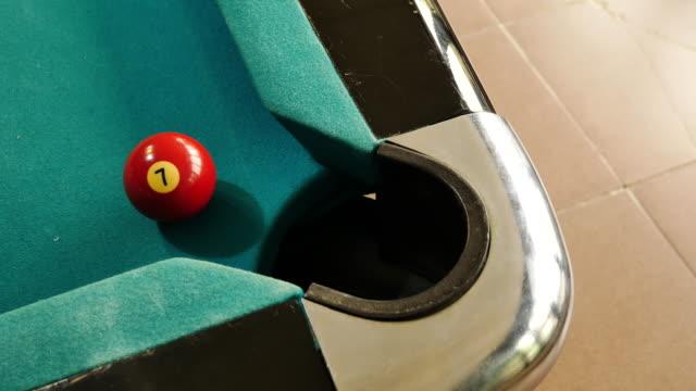 snooker player shoot ball no 7 into hole