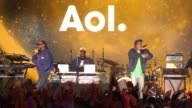 PERFORMANCE Snoop Dogg and Wiz Khalifa onstage at AOL NewFronts 2016 at Seaport District NYC on May 03 2016 in New York City