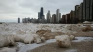 Snow and ice collect along the shore of Lake Michigan as the city braces for another cold front on February 9 2015 in Chicago Illinois