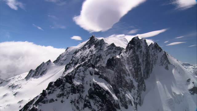Snow blankets rugged mountain peaks. Available in HD.