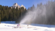 Snow Cannon In the Dolomties Mountains
