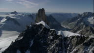 Snow clings to the jagged mountain peaks of the Swiss Alps. Available in HD.