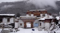 Snow covered building in Sichuan, China