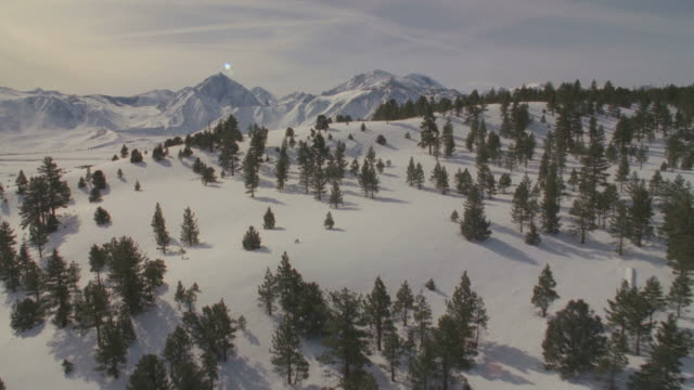 WS POV Snow covered landscapes / Mammoth Lakes, California, USA