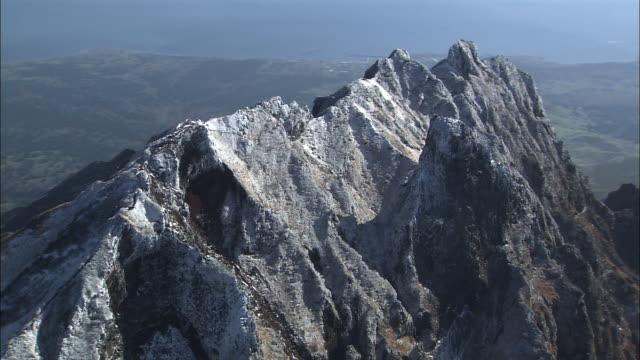 Snow covered Mount Rishiri Wide shot Aerial shot