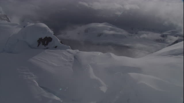 Snow covered mountains near the Antarctic coast. Available in HD
