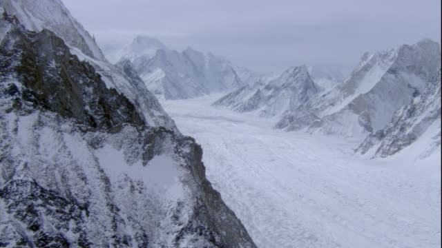 Snow covers the glacier and peaks of the Karakoram Range. Available in HD.