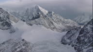 Snow covers the rugged peaks of the Himalaya Mountains in Nepal. Available in HD.
