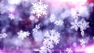Snow crystals falling (purple) - Loop