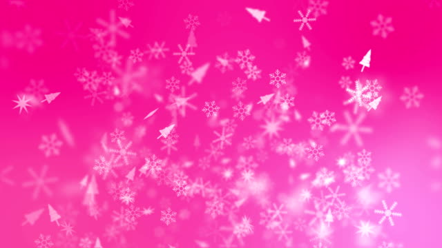 Snow Crystals Falling on Pink Background, Christmas Background
