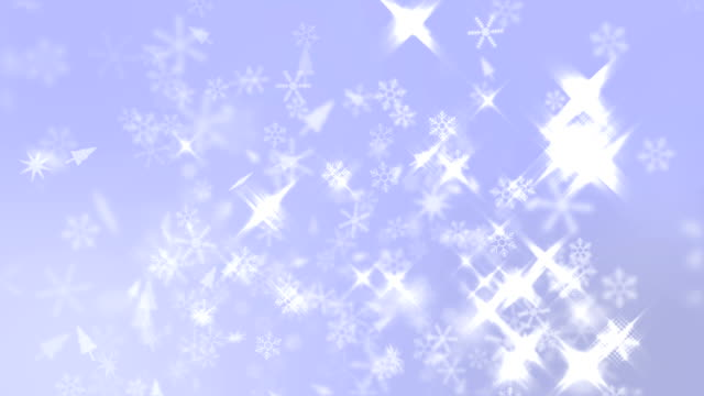 Snow Crystals Falling with Sparking Light on Blue Background, Christmas Background