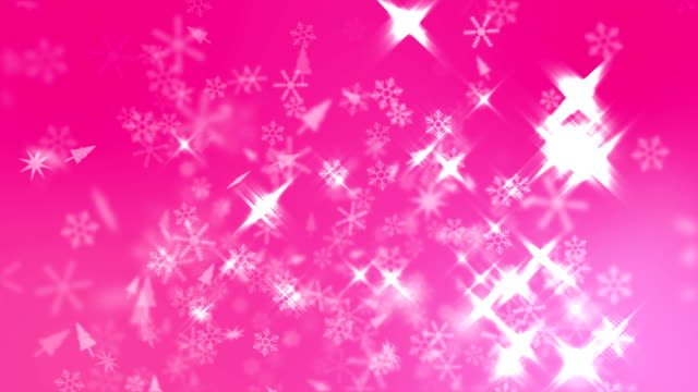 Snow Crystals Falling with Sparking Light on Pink Background, Christmas Background
