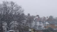 MS, Snow falling in residential neighborhood, Southend-on-Sea, Essex, England