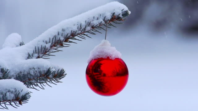 Snow gently falling on Christmas ornament hanging from tree