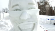 "A snow statue of Pikotaro the Japanese comedian who went viral with his song ""PPAP"" at the 68th Sapporo Snow Festival in Sapporo on February 6 Japan"