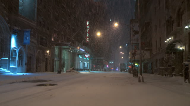 Snow Storm in New York City nighttime