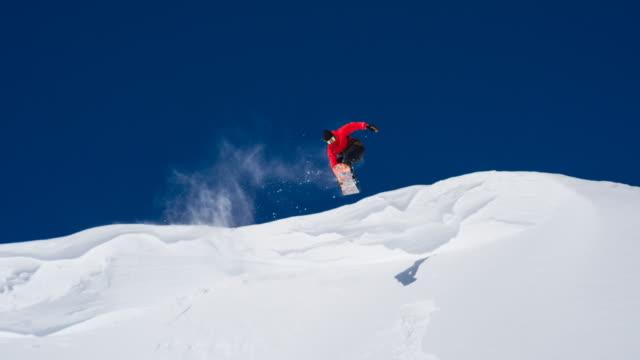 Snowboarder enjoying sunny winter day