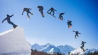 Snowboarder springen montage