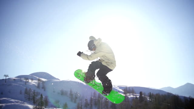 Snowboarder jumps in a snow park