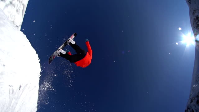 Snowboarder jumps over the camera
