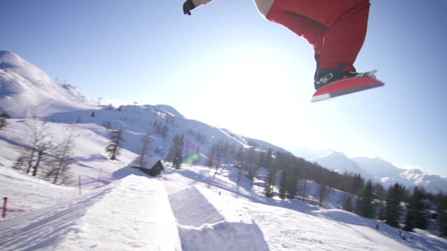 Snowboarder performing a trick in a snow park
