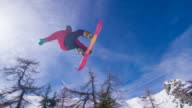 Snowboarder performing a trick