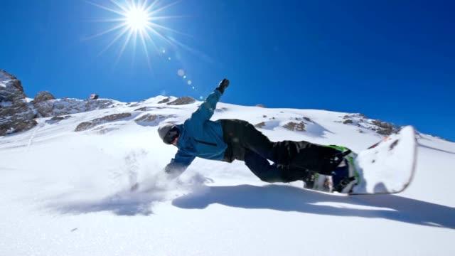 SLO MO Snowboarder spraying snow at the camera
