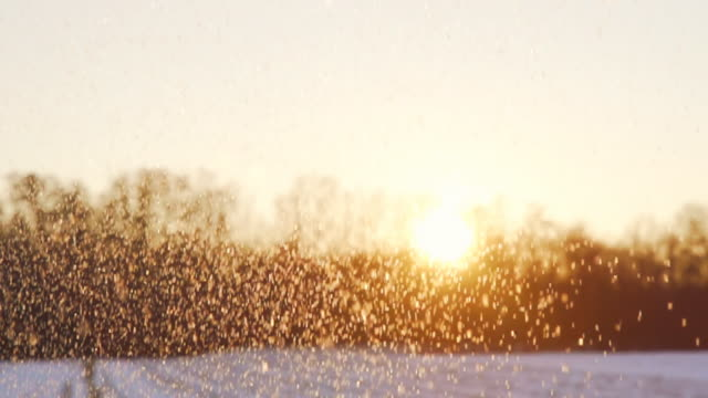 HD SUPER SLOW-MO: Snowing Over A Landscape