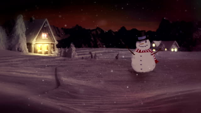 HD: Snowman Waving At Camera In Winter Wonderland