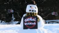 MS Snowman with 'No Global Warming' sign / Richmond, Virginia, USA