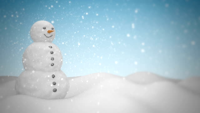 Snowman with snowfall