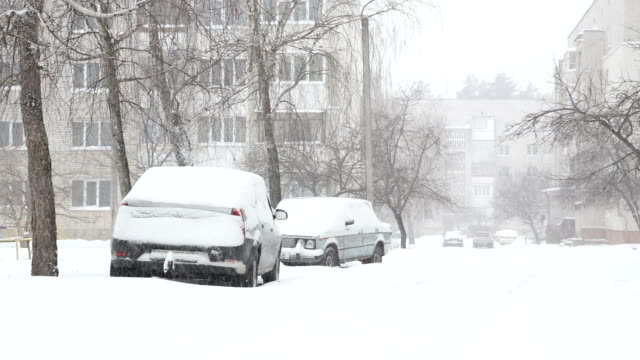 Snowstorm and snow covered street with parked cars.