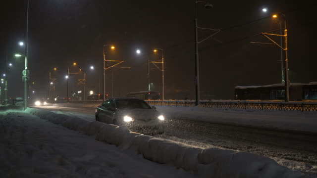 Snowstorm At The Galata Bridge at Night Time