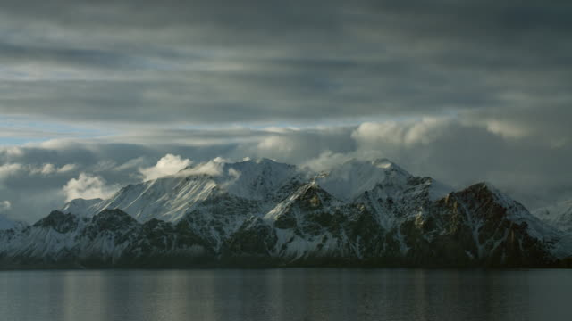 Snowy Mountains On Coast Of Arctic Island