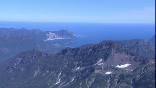 Snowy mountains overlook the Kamchatka Peninsula.