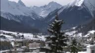 Snowy mountains surround the town of Davos, Switzerland.