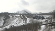 Snowy Mt. Usu borders Lake Toya Spa Town in Hokkaido.