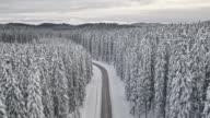 LUFTBILD verschneite Straße durch den Fichte Baum Winterwald