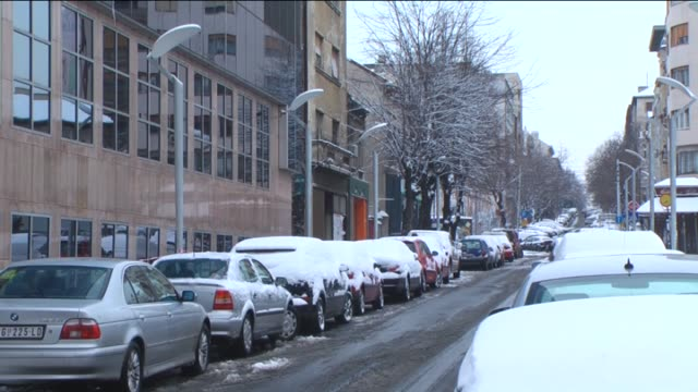 Snowy weather is effective in Belgrad and air temperature drops minus 2 in Serbia on 29 December 2014 Low air temperature causes icing on the roads