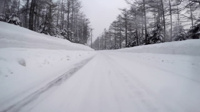 Snowy winter road drive