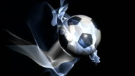 Soccer ball and globe spinning and flag of Argentina