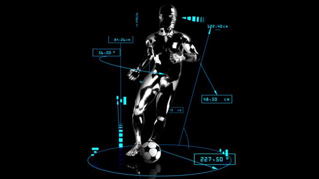 3D soccer cross man with technical data