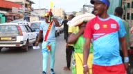 Soccer fans of DR Congo support their national team ahead of the 2017 Africa Cup of Nations Group C soccer match between Togo and Democratic Republic...