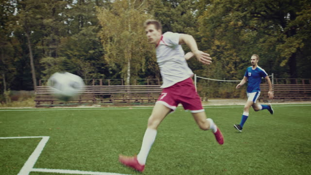 Soccer game moment