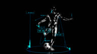 3D soccer kick man with technical data