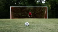 Soccer player hitting crossbar with ball